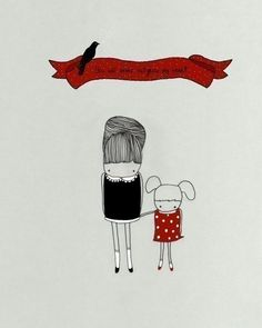 """My Little Girl"""" is an 8x10 print of my original ink illustration that has been digitally colored.    How great would this be for a new mom?! Placed above a crib...or on the fridge as a reminder to enjoy every moment of parenthood!? This is one of my absolute favorites."""
