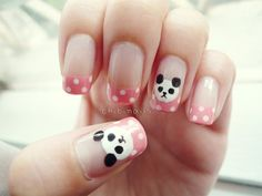 Panda nails by chibinails