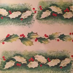 VINTAGE CHRISTMAS WRAPPING PAPER GIFT WRAP MIDCENTURY WW2 GREEN RED HOLLY BERRY