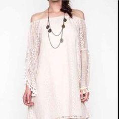 Off shoulder boho dress Tan colored Kari boho flirty off shoulder dress. Dresses