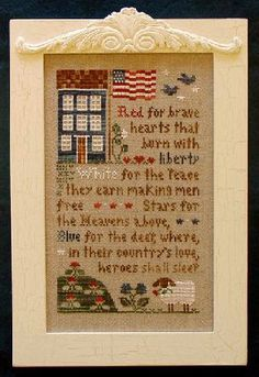 4th of july cross stitch pattern brave hearts at thecottageneedle.com
