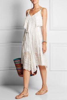 White silk-chiffon Slips on 100% silk; embroidery: 100% cotton; lining: 100% polyester Hand wash