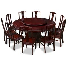 72in Rosewood Longevity Design Round Dining Table with 10 Chairs