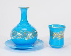 "Century Baccarat Opaline Turquoise 3 Piece ""Tumble-Up"""