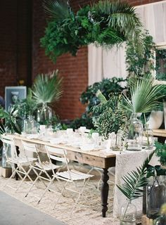 Tropical Green Tablescape/Photo by Mike Radford/Planning by Green Ribbon Parties/Plants by The Plant Library/Paper Goods by Copperwillow