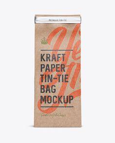Kraft Paper Bag w/ a Metallic Paper Tin-Tie Mockup - Front View (Preview)