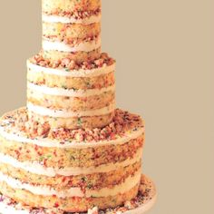 Funfetti wedding cake!   Maybe with the rainbow chip icing in between layers instead of the outside so all tiers can have same outside icing