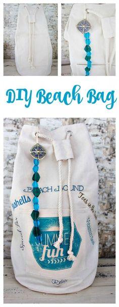 DIY Beach Bag. Customize bag with graphics and beads. Make a beach bag. Use sea glass beads and a compass charm to embellish a beach bag. – Graphics and Beads