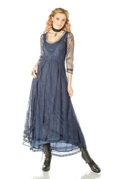 Downton Abbey Tea Party Gown in Royal Blue by Nataya Shrug For Dresses, Tea Length Dresses, Day Dresses, Dresses With Sleeves, Bride Dresses, Glamour Dresses, Flapper Dresses, Formal Dresses, Vintage Style Wedding Dresses