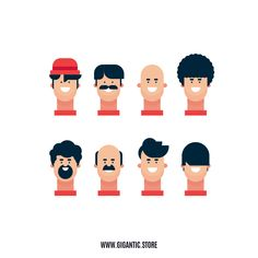 8 Hairstyles for Flat Design Character Illustration - Frauen Haar Modelle Flat Design Illustration, Face Illustration, People Illustration, Character Illustration, Digital Illustration, Cartoon Illustrations, Character Sketches, Cartoon Drawings, Character Art