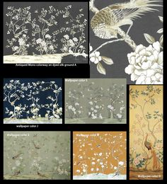 chinese wallpaper :: chinoiserie wallpaper :: silk wallpaper :: hand painted…