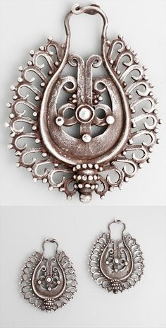 Indonesia - Flores | Pair of ear ornaments ~ tebe ~ silver. Were likely made by the Nage or Lio people | ca. early to mid 20th century || POR