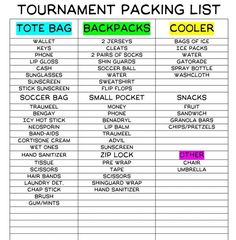 Well I luv going to tournaments with my soccer gals and hanging out and having fun but I always forget just one thing. So here's a list I used to help. -Caitlyn