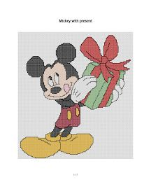 free Christmas cross stitch and crafts: Mickey Mouse with present Disney Christmas, 1st Christmas, Christmas Cross, The Martian, Betty Boop, Candy Cane, Needlepoint, Cross Stitch Patterns, Mickey Mouse