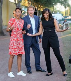 "Presenting the cast of the upcoming remake of ""Three's Company:"" Michelle Obama, Prince Harry, and Robin Roberts!"