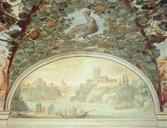 BRIL, Paul Landscape with Boats on a River 1611-12 Fresco Palazzo-Pallavicini-Rospigliosi, Rome