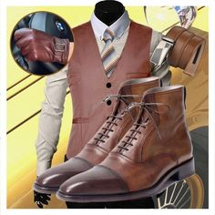 Run your Elegance 365 days a year! Elegance is a mindset Gentleman - Deluxe Brown Ankle Boots for Men - Runit365 your Elegant Men Store #classy #leather #boots #menstyle #mensfashion