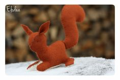 Squirel  waldorf toy  stuffed animal sewn from wool by ElodeaToys, Kč400.00