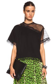 Image 1 of Christopher Kane Mesh & Lace Cut Away Cotton Top in Black