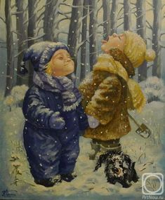 Painting «Not titled Cute Wallpaper Backgrounds, Cute Wallpapers, Russian Art, Winter Theme, Christmas Pictures, Rubrics, Painting Inspiration, Cool Pictures, Sketches
