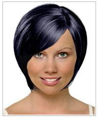 """""""This short concave bob is a great looking hairstyle for a square face shape. The sides falling forward soften the jaw line, while the diagonal bangs also are ideal for minimizing squareness. The hairstyle has a rounded appearance making it the right choice for framing square face shapes. Other short styles that will work are looks with soft wispy side parted swept across bangs in wavy or curly textures."""""""