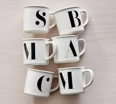 Image result for pottery barn initial mug