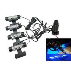 4pcs Car Decorative Atmosphere Lamp LED Interior Floor Decoration Lights Blue