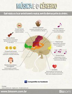 Música e o cérebro.  Entenda algumas das reações que o cérebro manifesta em função da música.  Veja mais: http://biosom.com.br/blog/bem-estar/musica-e-o-um-grande-exercicio-para-o-cerebro/  #música #cérebro #audição