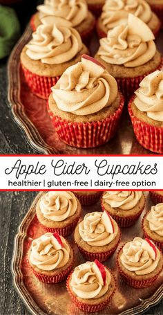 Apple Cider Cupcakes are a fun and easy Fall dessert! This recipe is made a little healthier with less sugar and butter, and applesauce instead. These can also be made with oat flour too! Made with applesauce, a little brown sugar, spices, and your favorite apple cider, these cupcakes are bursting with apple cider flavor. Topped with a Spiced Buttercream Frosting. Easily made gluten-free and dairy-free.