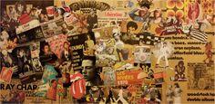 """Tableau """"1970""""  Collage réalisé pour une personne qui avait besoin de repères des années 70.  Dimension toile : 50 x 100 cm"""