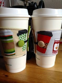 Quick Metro Cafe coffee cozies [tutorial]