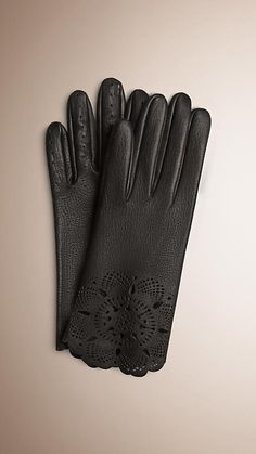 Laser-Cut Lace Leather Gloves Black