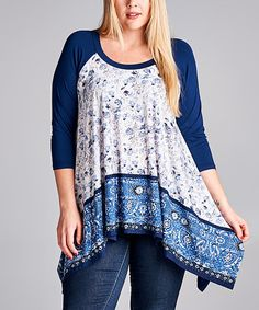 Look at this Blue & White Sidetail Top - Plus on #zulily today!