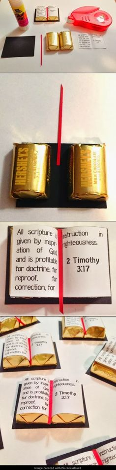 "YW Scripture treat handout: Great instructions and printable to make these using Hershey's Chocolate Almond Nuggets. ""All scripture is given by inspiration of God. Scripture Treats, Fest Des Fastenbrechens, Hershey Nugget, Pioneer School, Pioneer Gifts, Jw Pioneer, Jw Gifts, Visiting Teaching, Church Crafts"