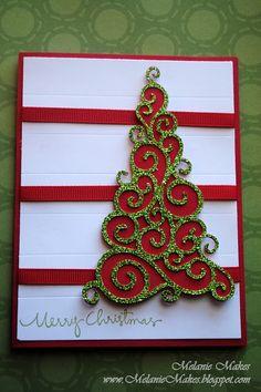 Swirl Christmas Greetings Tree card using christmas cricut cartridge.