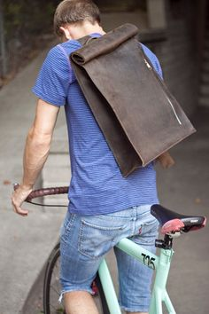 Brown Leather Bike Messenger Bag