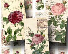 SALE!!!Roses Digital Collage Sheet - Digital Download - Vintage Ephemera Domino Size -  - Printable INSTANT Download