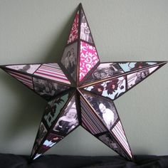 Photos on a star shape ... Maybe use old Christmas photos for Christmas decoration