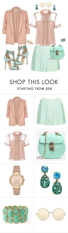 """Street style..."" by natozurabovna ❤ liked on Polyvore featuring River Island, Topshop, RED Valentino, Michael Kors, Kate Spade, Forever 21, Victoria Beckham and Elie Saab"