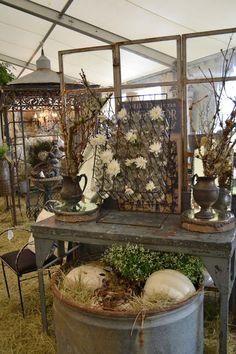 time worn interiors: J. Hill Designs, Marburger Fall Show - Round Top (Texas) Flea Market Booth, Flea Market Finds, Flea Markets, Antique Store Displays, Vintage Display, Market Displays, Booth Displays, Retail Displays, Display Design