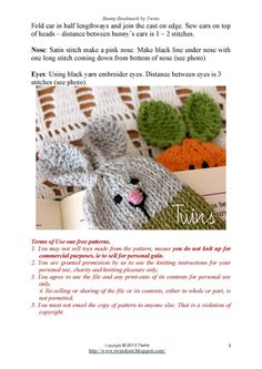 Twins' Knitting Pattern MiniShop: Bunny Bookmark - free knitting pattern for Advanced Beginners