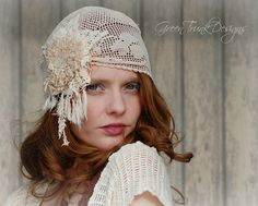 Boho Bridal Cap Veil Made of Vintage Lace Flapper Style from Green Trunk Designs on ETSY