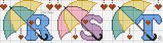 Pastel Umbrellas Alphabet Cross Stitch Pattern R S T Cross Stitch Alphabet, Cross Stitch Patterns, Stitch 2, Embroidery Designs, Lily, Kids Rugs, Disney, Google, Cross Stitch Love