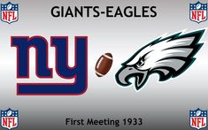 1933, National Football League (1st GIANTS-EAGLES), New York Giants < > Philadelphia Eagles #Giants #Eagles #NFL (L24339) Football Rivalries, Eagles Nfl, Sports Logos, National Football League, Philadelphia Eagles, New York Giants, Logo Design, National Soccer League