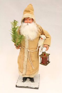 Santa with Chime Saint Nickolas 1900's Vintage German Christmas Candy Container