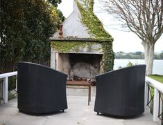 Full Property Landscape Design In A Classic Style Concrete Fireplace, Fireplace Mantle, Classical Elements, Outdoor Stone, White Pergola, Property Design, Outdoor Spaces, Outdoor Decor, Plaster Walls