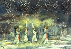 The morning of Lucia. (A Swedish Christmas tradition that take place the 13th of December.)
