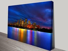 This artwork shows the beautiful Skyline of Sydney, from the harbour. Canvas Artwork, Canvas Art Prints, Framed Prints, Acrylic Tips, Sydney City, Wall Decals, Wall Art, City Landscape, Floating Frame