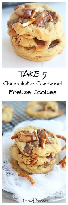 Take 5 Chocolate Caramel Pretzel Cookies --Everything delicious like the candy bar, chocolate, peanut butter, peanuts, caramel and chocolate. | carmelmoments.com