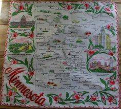 Minnesota state map + pink lady's slipper flowers [handkerchief / scarf]